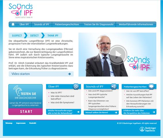 "Idiopathische Lungenfibrose (IPF) – Neues Webportal ""Sounds of IPF"" hilft frühe Diagnose zu stellen"