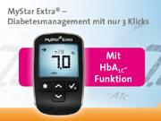 Einzigartiges Blutzuckermessgerät MyStar Extra® berechnet HbA1c-Schätzwert und Trend