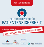 Einsendeschluß verlängert bis 31. November 2016: Ausschreibung: Deutscher Preis für Patientensicherheit